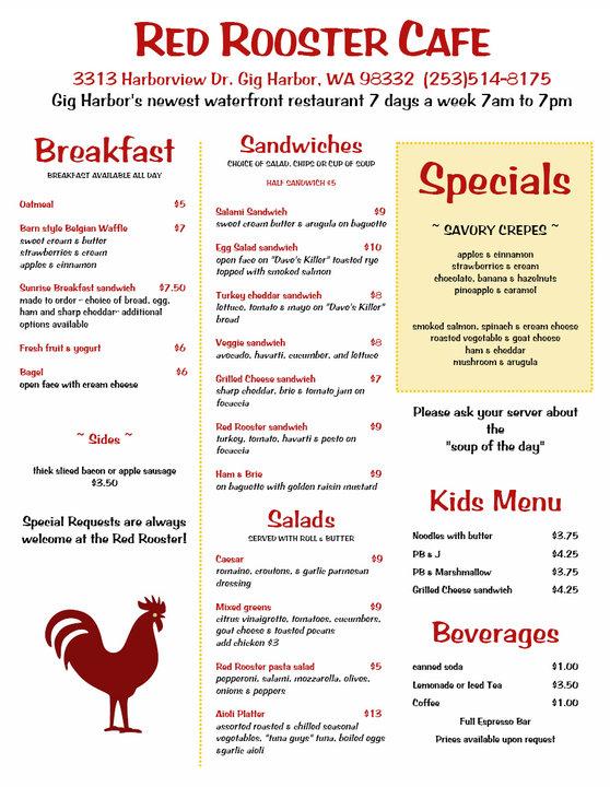 Cafe Rooster Menu